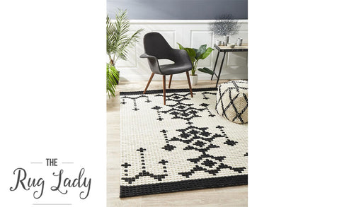 Harlow Black Natural White Aztec Felted Wool Rug