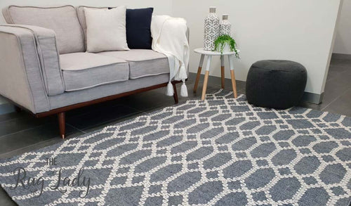 Harlow Navy Lattice Flatweave Rug