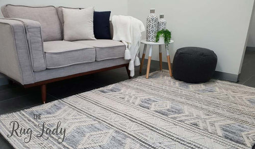 Harlow Silver Tribal Felted Wool Rug