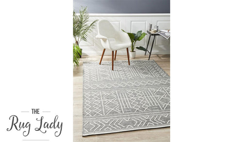 Harlow Grey Ethnic Felted Wool Rug