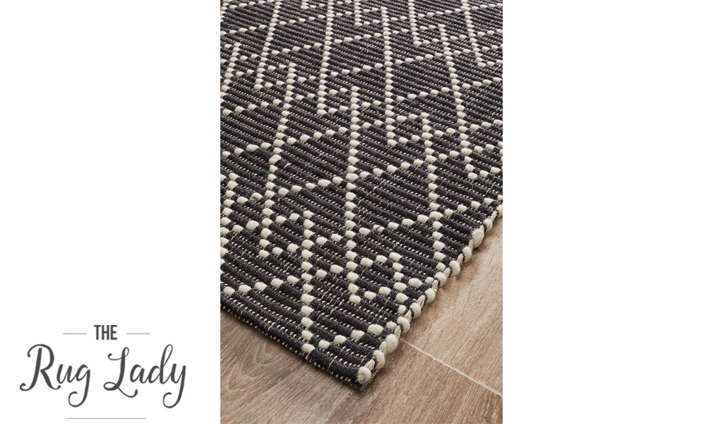 Harlow Black Geometric Felted Wool Rug