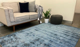 Harmony Indigo White Striped Viscose Rug