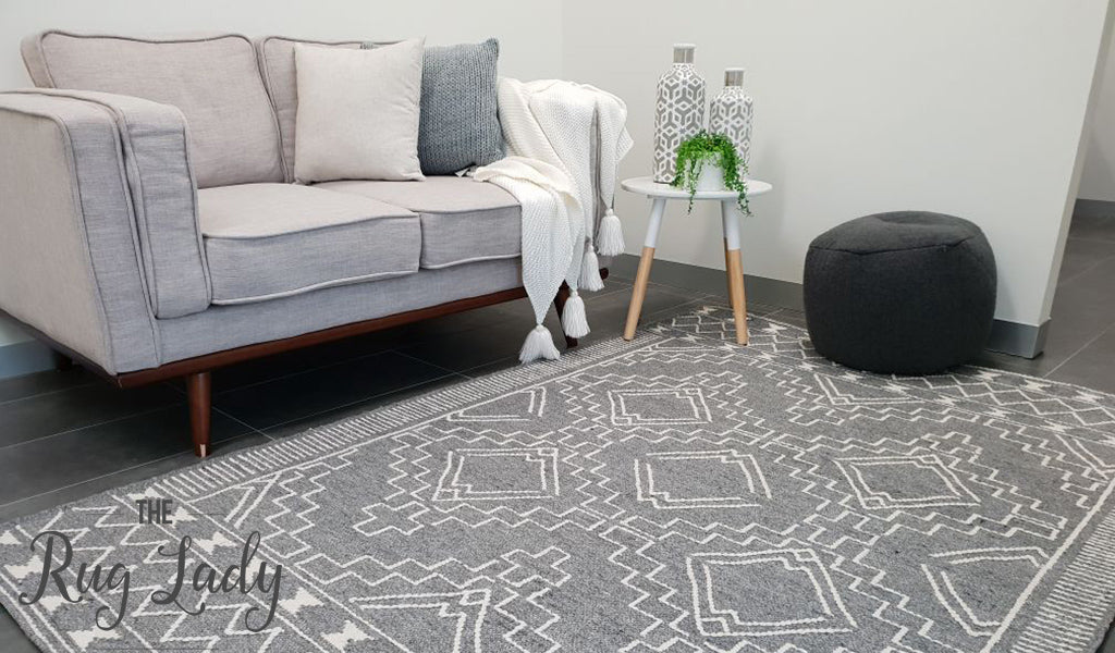 Harlow Grey Tribal Felted Wool Rug