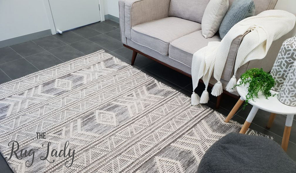 Harlow Natural Off White Tribal Felted Wool Rug