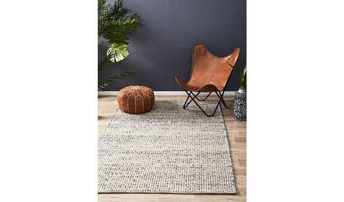 Grey Scandinavian Felted Wool Rug