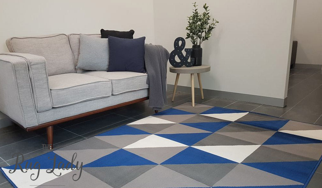 Industry Royal Blue White Grey Geometric Triangle The Rug Lady