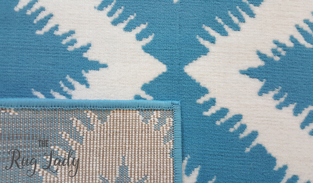 Industry Blue And White Geometric Diamond The Rug Lady