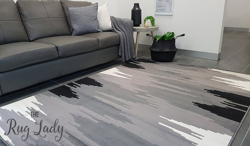 Industry Galaxy Black Grey Lines Rug