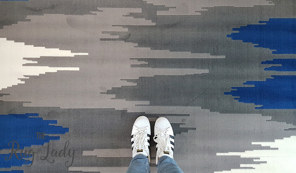 Industry Galaxy Blue Grey Lines Rug