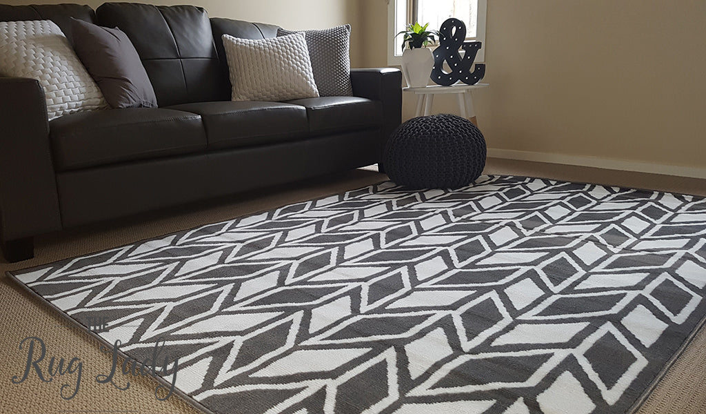 Industry Grey White Herringbone Chevron