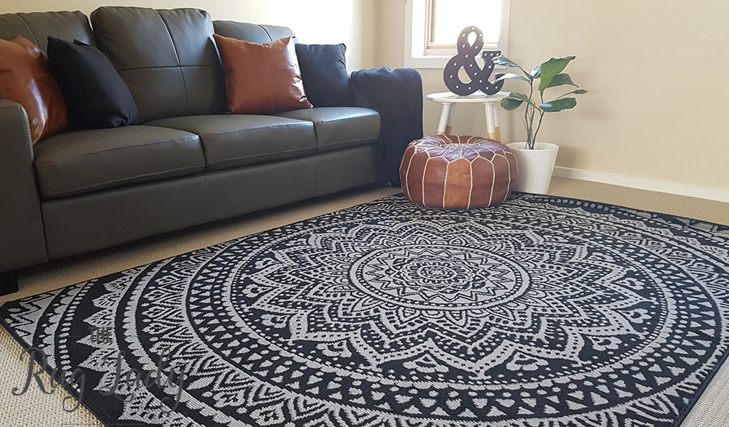 Industry Mandala Black Rug