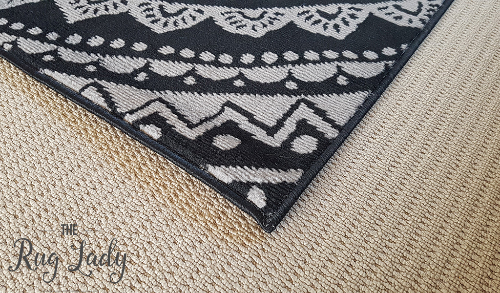 Industry Mandala Black Grey Rug