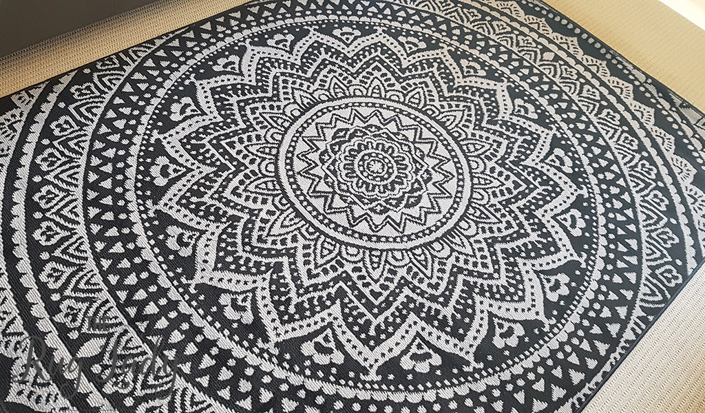 Modern Rugs Industry Mandala Black Grey Rugs The Rug Lady
