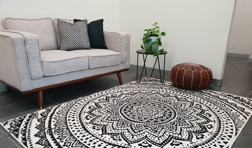 Industry Mandala Black and Natural White Rug
