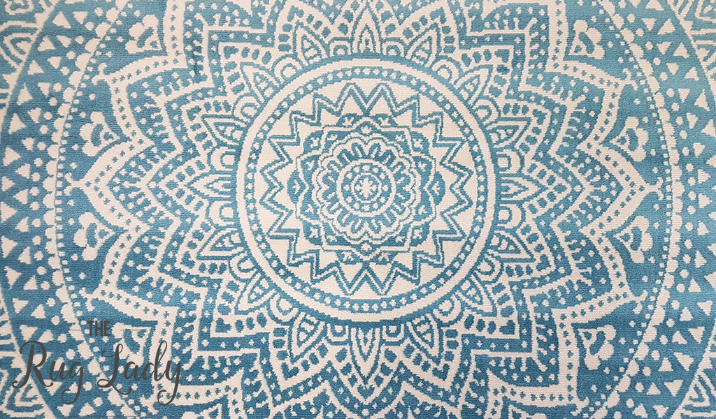 Industry Mandala Light Blue and Natural White