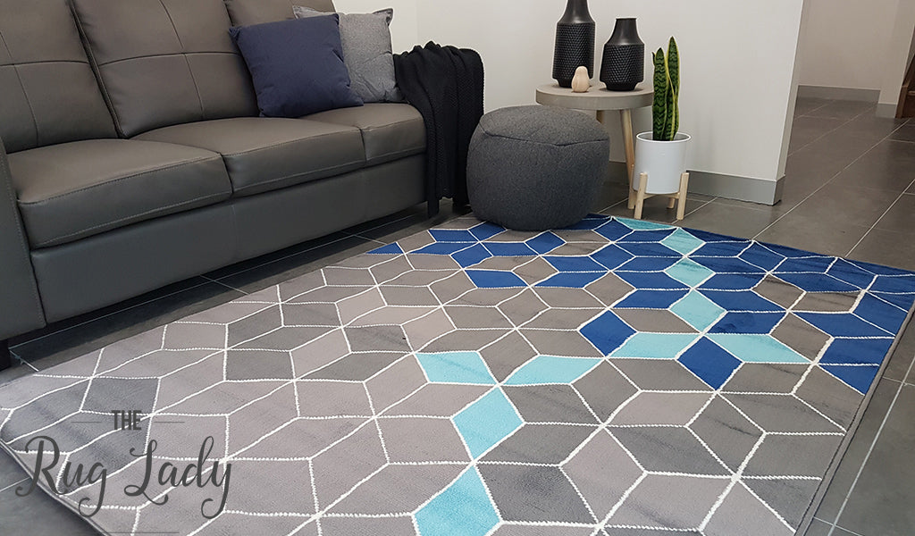Industry Mermaid Blue Grey Geometric Rug