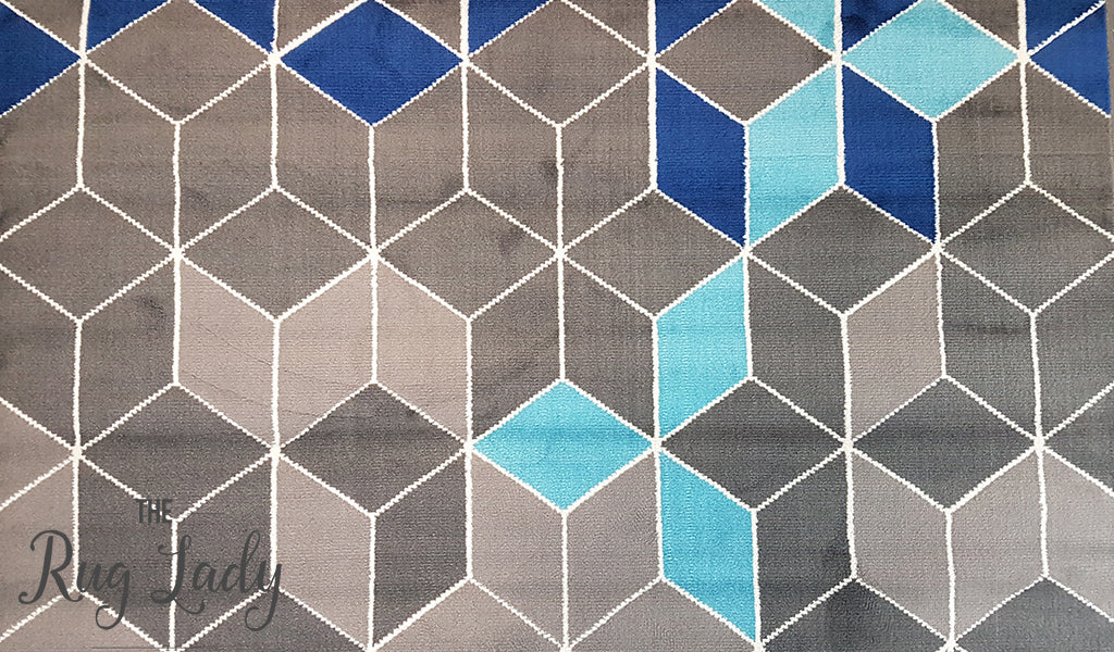 Industry Mermaid Blue Grey Geometric Rug The Rug Lady