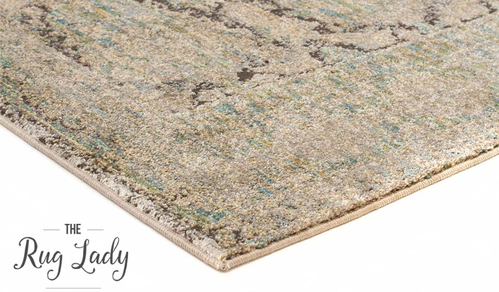 Bella Green Washed Out Distressed Vintage Rug