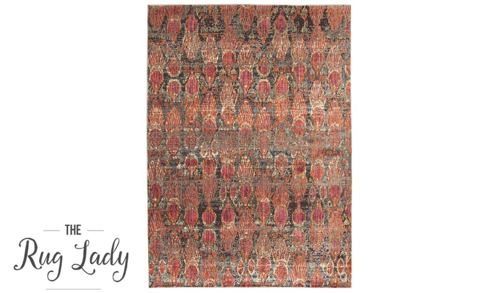 Bella Red Imprints Distressed Vintage Rug