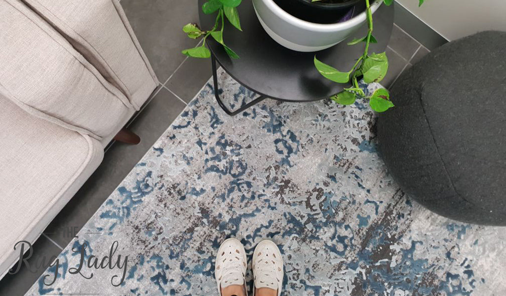 Kenna Blue Grey Abstract Power Loomed Rug The Rug Lady