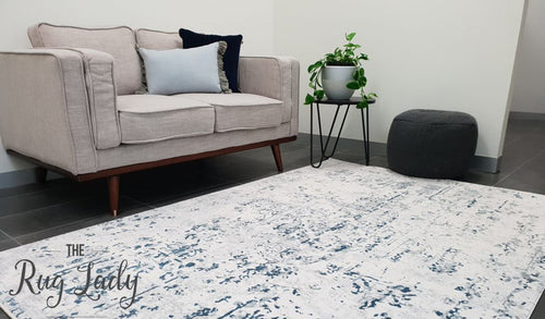 Kenna White Grey Washed Out Abstract Rug
