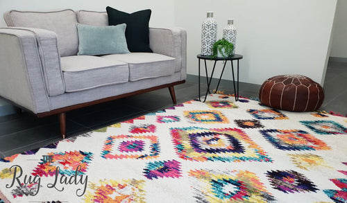 Karsha Cream Multicoloured Geometric Tribal Rug