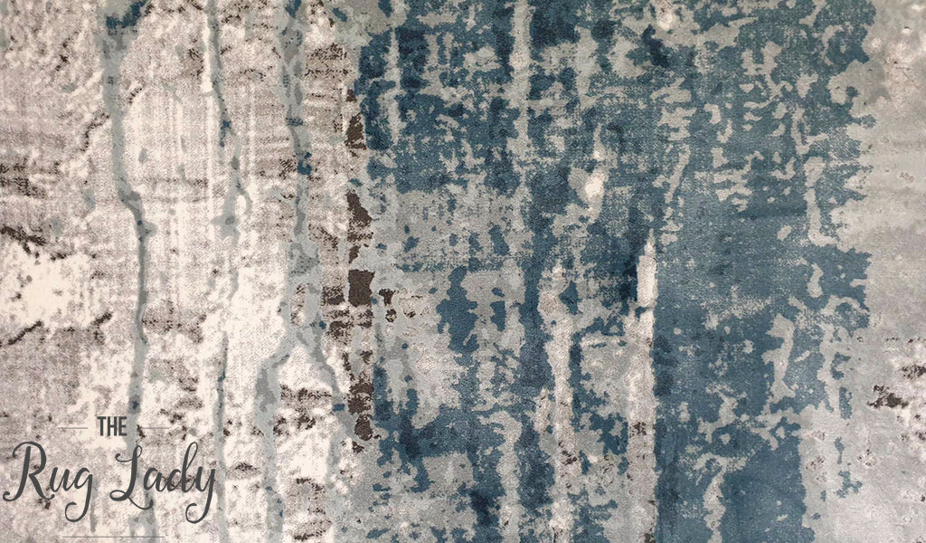 Kenna Blue Washed Out Abstract Rug