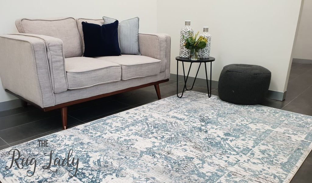 Kenna White Blue Abstract Vintage Rug