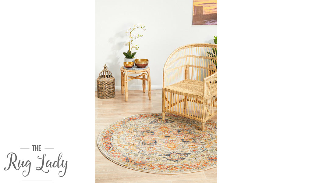 Heirloom Orange Transitional Medallion Round Rug