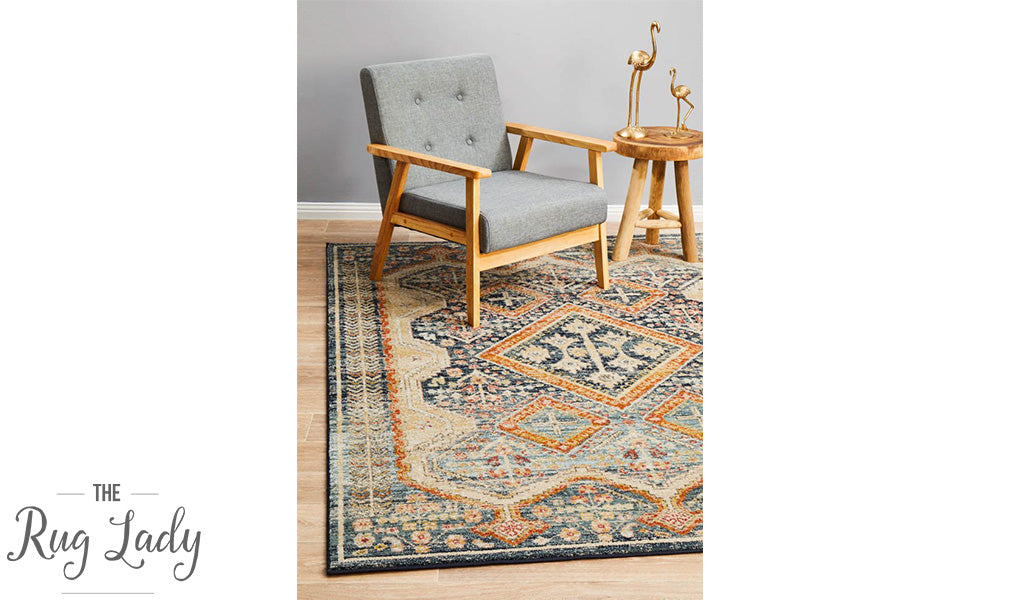 Heirloom Navy Blue Geometric Medallion Rug