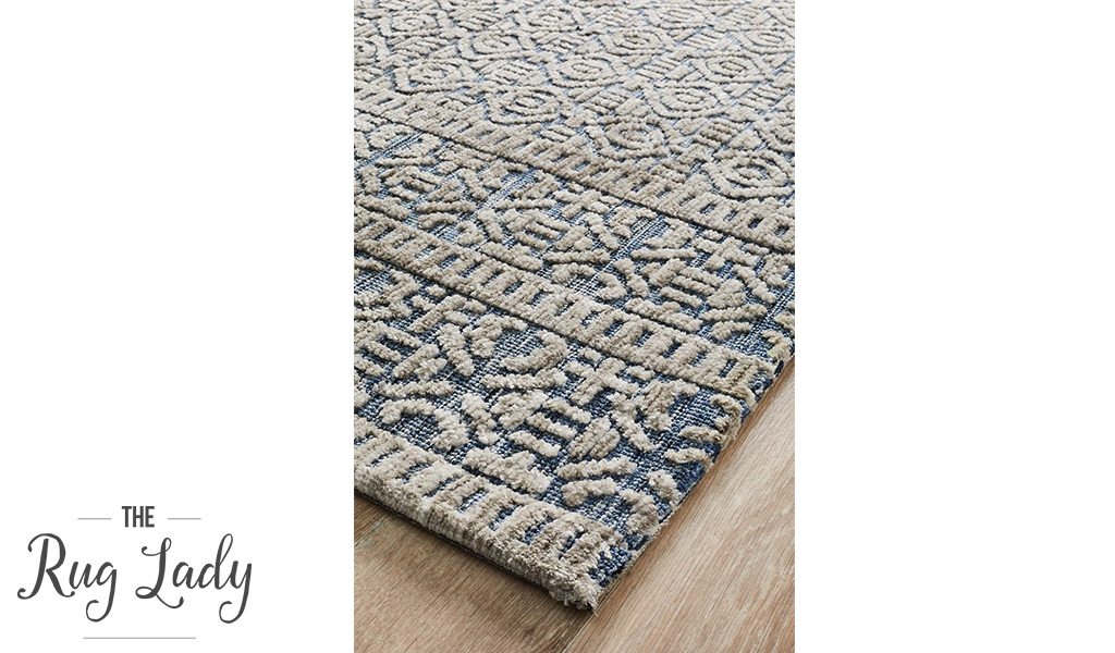 Lenni Blue Geometric Distressed Ornate Rug