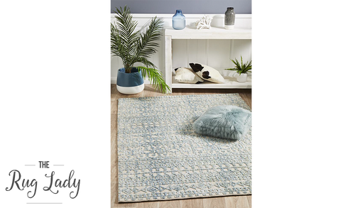 Lenni Blue Tribal Diamond Distressed Ornate Rug