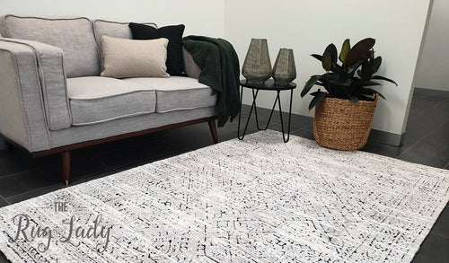Deluxe Grey Black Geometric Pattern Rug