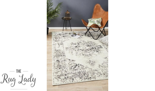 Metropolitan Aspyn Black White Medallion Transitional Rug