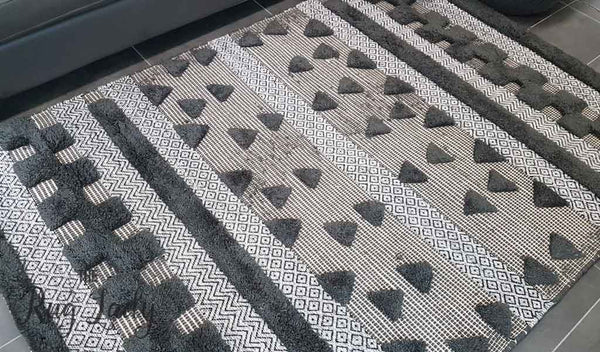 Bohemian Charcoal Hand Loomed Textured Rug The Rug Lady