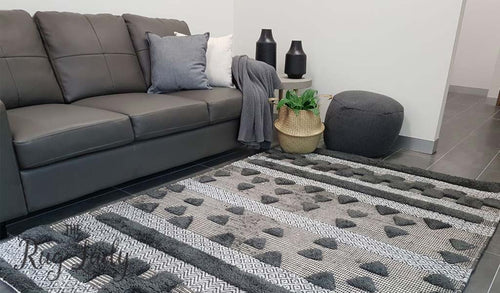 Bohemian Charcoal Hand-Loomed Textured Rug