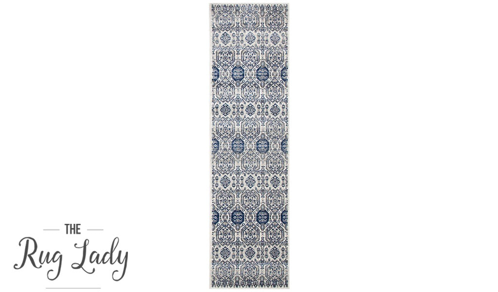 Mystique Grey And Navy Vintage Patterned Hallway Runner