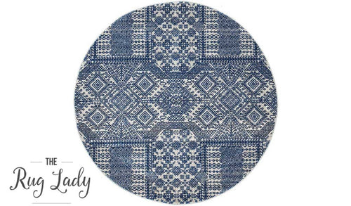 Mystique Navy and White Vintage Patterned Round Rug
