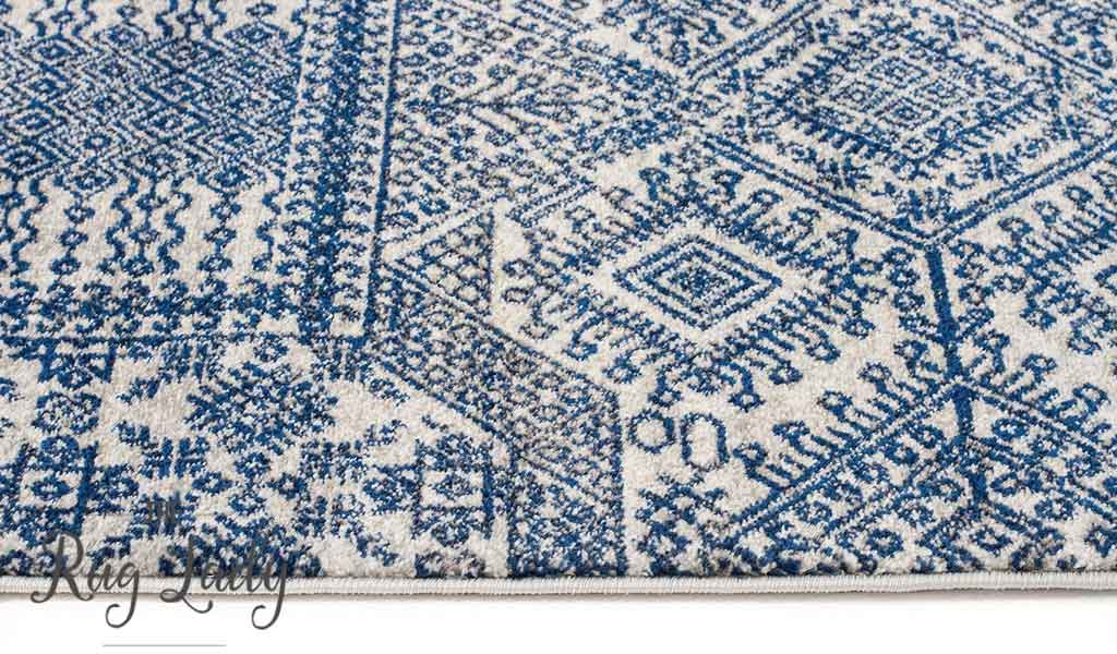 Mystique Navy and White Vintage Patterned Hallway Runner