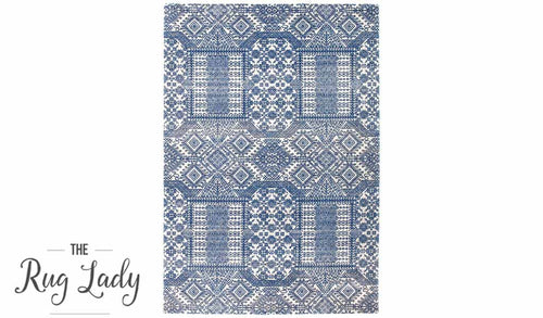 Mystique Navy and White Vintage Patterned Rug