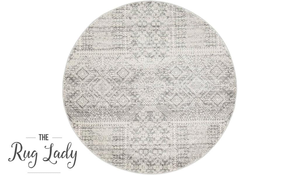 Mystique Silver White Vintage Patterned Round Rug