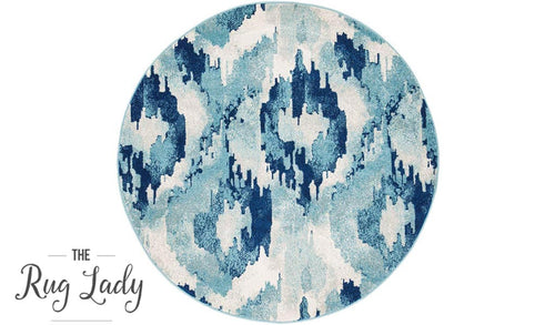Mystique Blue Watercolour Ikat Patterned Round Rug