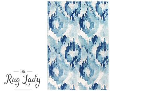 Mystique Blue Watercolour Ikat Patterned Rug