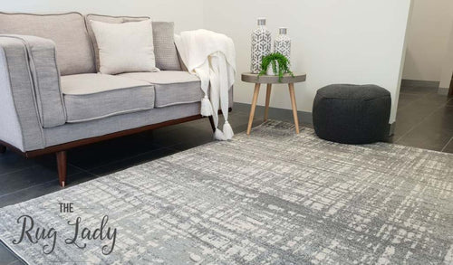 Mystique Silver White Crosshatch Rug
