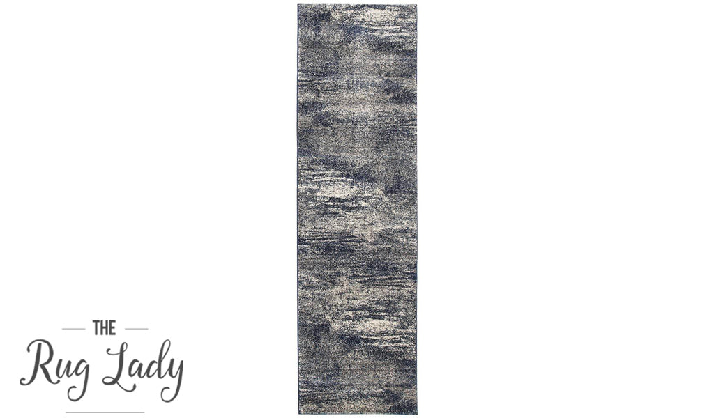 Mystique Blue and White Distressed Abstract Hallway Runner