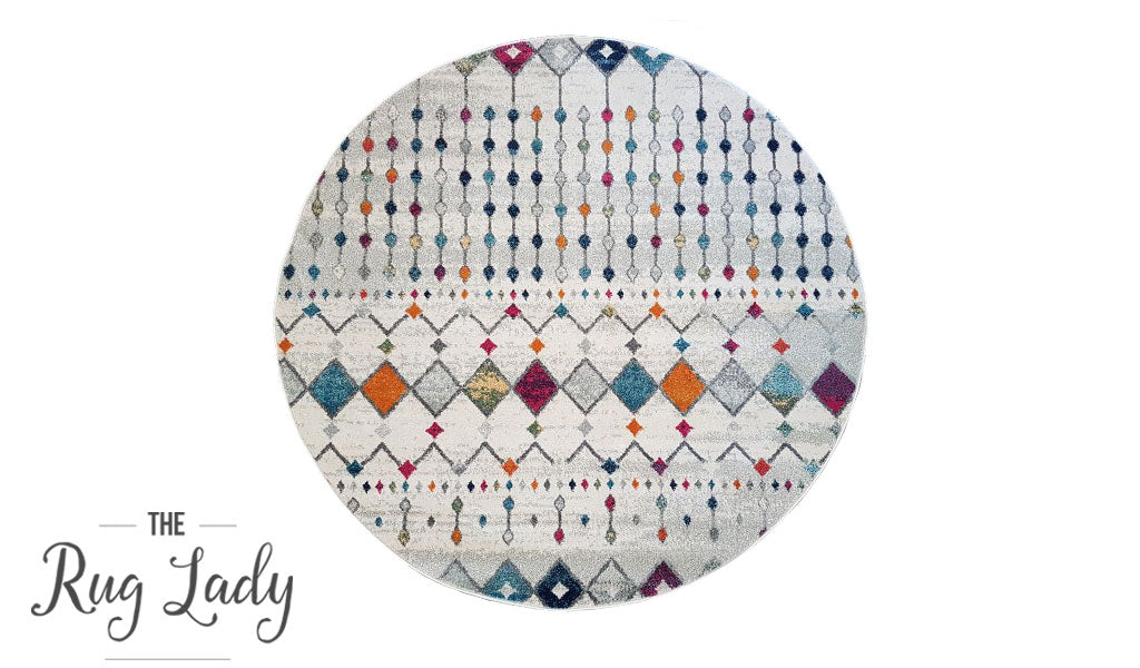 Mystique Multicoloured Tribal Pattern Round Rug