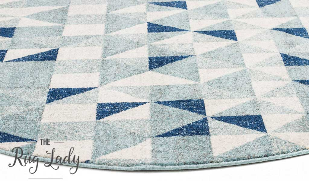 Mystique Blue and White Geometric Prism Round Rug