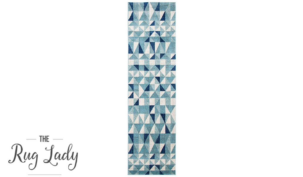 Mystique Blue and White Geometric Prism Hallway Runner