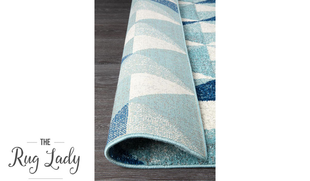 Mystique Blue and White Geometric Prism Rug
