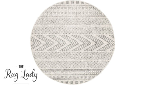 Mystique Grey and White Tribal Imprints Round Rug